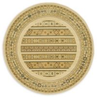 Unique Loom Pasadena Nomad 6' Round Powerloomed Area Rug in Ivory
