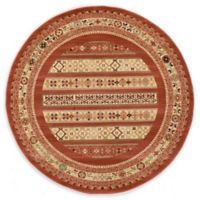Unique Loom Pasadena Nomad 6' Round Powerloomed Area Rug in Rust Red