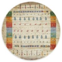 "Unique Loom Pawnee Tribe 5'5"" Round Powerloomed Area Rug in Cream"