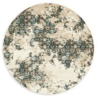 Unique Loom Pearl Mirage 6' Round Powerloomed Area Rug in Beige
