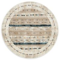 Unique Loom Painted Mirage 6' Round Powerloomed Area Rug in Beige