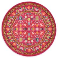 Unique Loom Paradise Palazzo 6' Round Powerloomed Area Rug in Pink