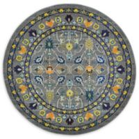 Unique Loom Paradise Palazzo 6' Round Powerloomed Area Rug in Gray