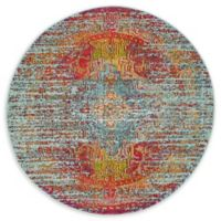 Unique Loom Picasso Arte 4' Round Powerloomed Area Rug in Blue