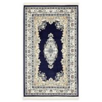 Unique Loom Windsor Nain Design 3' X 5' Powerloomed Area Rug in Navy
