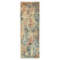 Unique Loom Yangtze Ethereal 6' Runner Powerloomed in Beige/navy
