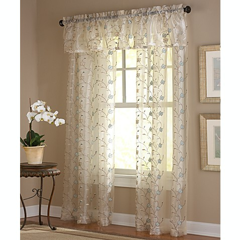 Amberly Embroidered Leaf Rod Pocket Sheer Window Curtain