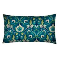 Outdoor Oblong Throw Pillows in Damask Seaglass (Set of 2)