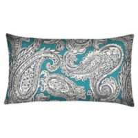 Honeycomb Outdoor Oblong Throw Pillows in Turquoise Paisley (Set of 2)