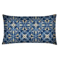 Honeycomb Outdoor Oblong Throw Pillows in Marine Medallion (Set of 2)