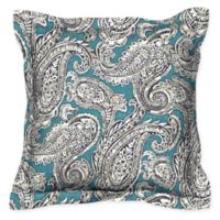 Honeycomb 17-Inch Square Outdoor Throw Pillows in Turquoise Paisley (Set of 2)