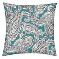 Honeycomb 15-Inch Square Outdoor Throw Pillows in Turquoise Paisley (Set of 2)