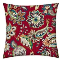 Honeycomb 15-Inch Square Outdoor Throw Pillows in Crimson Jakarta (Set of 2)