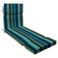 Honeycomb Stripe Outdoor Chaise Lounge Cushion in Lagoon Blue