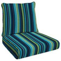 Honeycomb Stripe Outdoor Deep Seating Cushion in Lagoon Blue