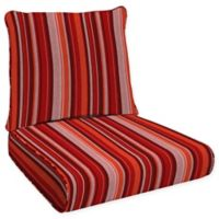 Honeycomb Stripe Outdoor Deep Seat Cushion in Cardinal Red