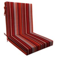 Honeycomb Stripe Outdoor Highback Dining Chair Cushion in Cardinal Red