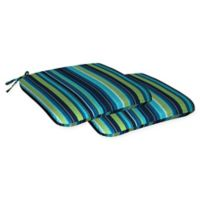 Honeycomb Stripe Outdoor Seat Cushions in Lagoon Blue (Set of 2)