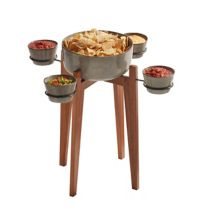 Destimation Summer 6-Piece Langley Chip and Dip Serving Side Table in Grey