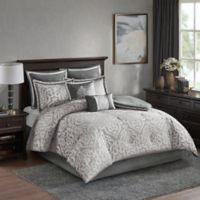 Madison Park Odette 8-Piece Jacquard Queen Comforter Set in Silver