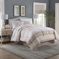 Jessie Damask 6-Piece Comforter Set in Khaki