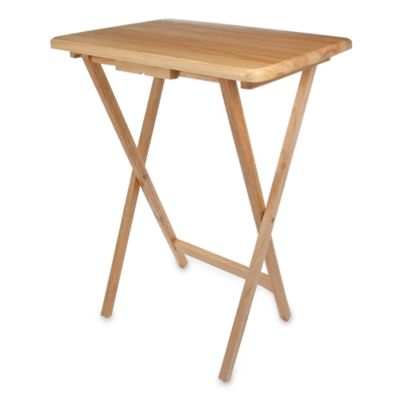 Solid Wood Folding Snack Table In Beechwood