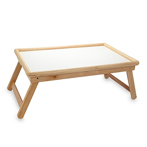 Beechwood Folding Bed Tray With White Laminate Top Bed