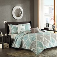 Madison Park Claire King/Califonia King Coverlet Set in Aqua