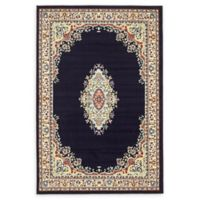 Unique Loom Washington Mashad 4' X 6' Powerloomed Area Rug in Navy