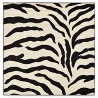 Unique Loom Zebra Safari 6' X 6' Powerloomed Area Rug in Ivory