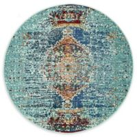 Unique Loom Warhol Arte 4' Round Powerloomed Area Rug in Turquoise