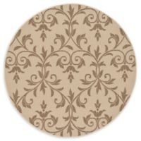 Unique Loom Victorian Outdoor 6' Round Powerloomed Area Rug in Beige