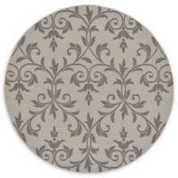 Unique Loom Victorian Outdoor 6' Round Powerloomed Area Rug in Gray