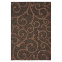 Unique Loom Vine Outdoor 4' X 6' Powerloomed Area Rug in Chocolate Brown