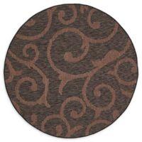 Unique Loom Vine Outdoor 6' Round Powerloomed Area Rug in Chocolate Brown