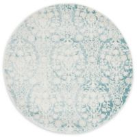 Unique Loom Tyche Arcadia 4' Round Powerloomed Area Rug in Light Blue