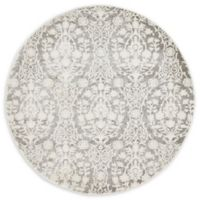 Unique Loom Tyche Arcadia 4' Round Powerloomed Area Rug in Light Gray