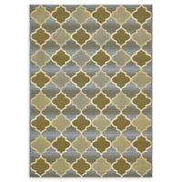 Unique Loom Trellis Eden Outdoor 4' X 6' Powerloomed Area Rug in Beige