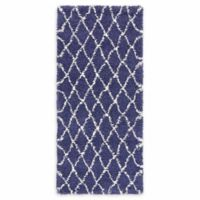 "Unique Loom Trellis Marrakesh Shag 2'7"" X 6' Runner Powerloomed in Navy"