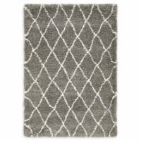 Unique Loom Trellis Marrakesh Shag 4' X 6' Powerloomed Area Rug in Gray