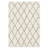 Unique Loom Trellis Marrakesh Shag 4' x 6' Area Rug in Pure Ivory