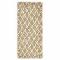 "Unique Loom Trellis Marrakesh Shag 2'7"" X 6' Runner Powerloomed in Taupe"