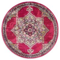 Unique Loom Valencia Palazzo 6' Round Powerloomed Area Rug in Pink