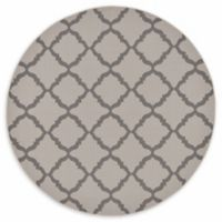 Unique Loom Trellis Outdoor 6' Round Powerloomed Area Rug in Gray