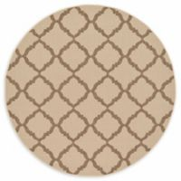 Unique Loom Trellis Outdoor 6' Round Powerloomed Area Rug in Beige