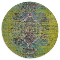 Unique Loom Warhol Arte 4' Round Powerloomed Area Rug in Green