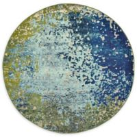 Unique Loom Vella Barcelona 6' Round Powerloomed Area Rug in Blue