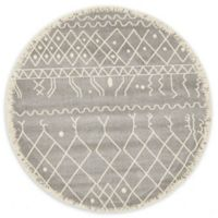 Unique Loom Tribal Morocco 6' Round Powerloomed Area Rug in Gray