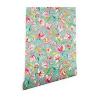 Deny Designs Ninola Design Green Peonies Floral 2-Foo x 8-Foot Peel and Stick Wallpaper