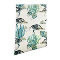 Deny Designs Marta Barragan Camarasa Crocodile Cactus 2-Foot x 8-Foot Peel and Stick Wallpaper